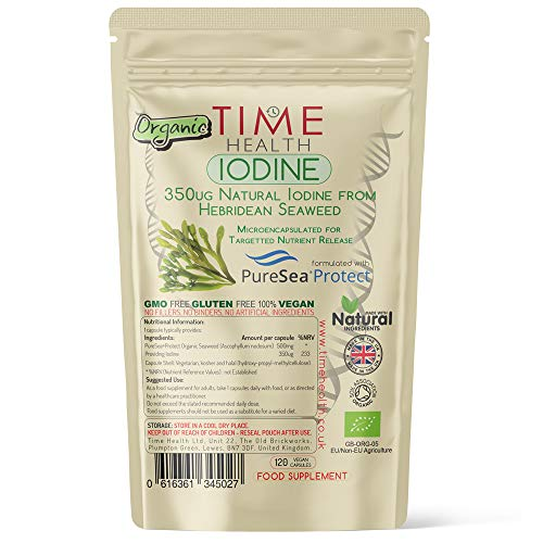 Iodine - Organic Scottish Sea Kelp - Gastro-Resistant Microencapsulation - PureSea Protect - Natural Source - UK Made - Zero Additives - Vegan (120 Capsule Pouch)