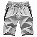 ShSnnwrl Short Homme Men's Shorts Summer Mens Shorts Cotton Elastic Waist Jogger Casual Male Board Shorts XXXL Lightgrey
