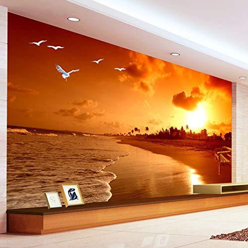 Wandgemälde Tapete-Sonnenuntergang-Strand-Fotografie-Landschafts-Wohnzimmer-Hintergrund-Fototapete Des Kundenspezifischen 3D Wandgemälde,60Cm(H)×120Cm(W)
