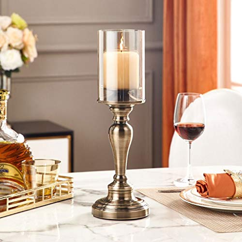 Zhu High Grade Aromatherapy Metal Candle Holders, Metal Table Top Decoration Candlestick, Candlelight Dinner Prop Size Optional Candle Sticks Holders, Indoor and Outdoor Zhu (Color : 38cm)