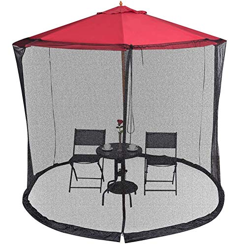 Garden Umbrella Mosquito Net Cover Screen Bug Netting Cover,Zipper Opening and Water Tube at Base