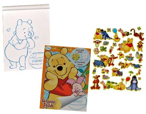 alles-meine.de GmbH großes Malbuch / Malblock A 4 mit 32 Stickern - Disney Winnie The Pooh - Malvorlagen Tiere Puuh Bär Teddy Aufkleber Malbücher