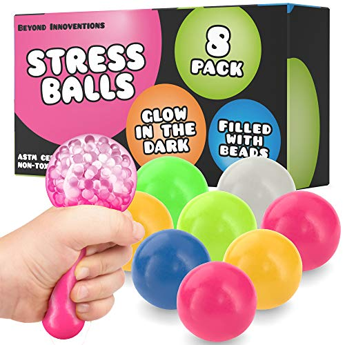Sticky Balls - Fidget Pack of 8 - Squishy Glow in The Dark Sensory Ball Stress Toys - Sticks to Ceiling and Wall - Stress Relief Gifts, Party Supplies, Anxiety Relief Items for Kids and Adults