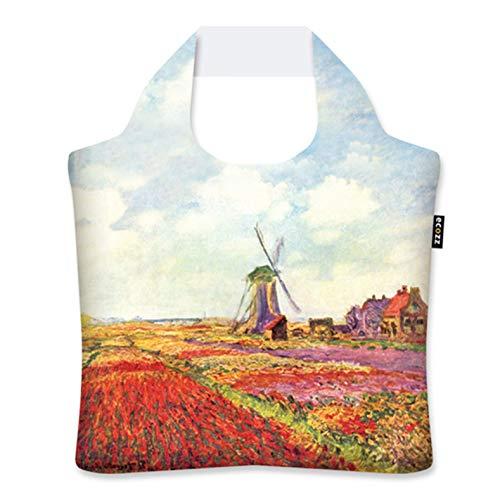 ecozz Tulip Fields in Holland - Claude Monet, faltbar, Einkaufstasche mit Reißverschluss, Wiederverwendbar, Tragetasche, Handtasche, Tote Bag, Strandtasche, Umweltfreundlich, Einkaufsbeutel