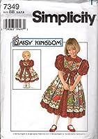 Simplicity Pattern 7349 5、6、7、8 デイジーキングダムドレスと17インチドールドレス