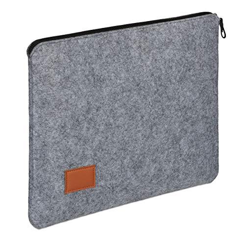 Relaxdays Laptophoes, 13 inch, vilt, beschermhoes laptop en notebook, ritssluiting, laptoptas, 26,5 x 34 x 1,5 cm, grijs, 1 stuk