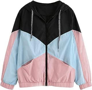 Outdoor Windbreaker Women, Zip-Up Color Block Long Sleeve Loose Jacket Casual Outerwear Baseball Hoodie Jacket