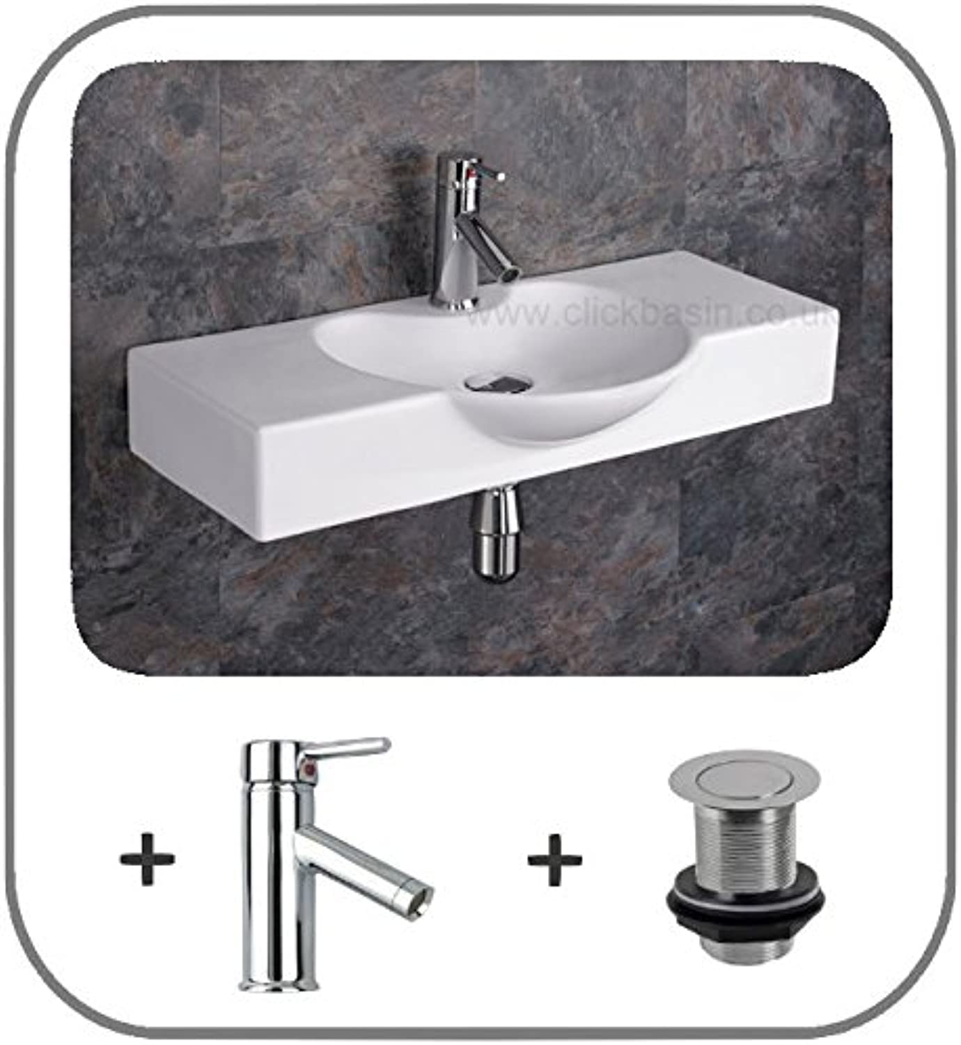 Clickbasin Aprilia Wall Mounted 70.5cm Wide Shaped Sink With Tap And Waste - Delivered Free