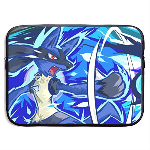 Anime Lucario Laptop Sleeve Bag Case,Waterproof and Foldable Laptop Briefcase Neoprene Soft Carring Tablet Travel Case,13 inch