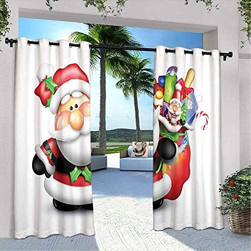 Cortinas de patio para exteriores, diseño de Papá Noel con mejillas rosadas y bolsa llena de divertidos juguetes, para dormitorio, sala de estar, porche, pérgola, 108 x 84 pulgadas, multicolor