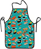 MODORSAN Delantales Divertidos para Hombres y Mujeres, Delantal de poliéster, Delantal de Chef de Cocina para cocinar, Hornear, Barbacoa, Pintura, mariscos, Sushi, gambas, Wasabi, japonés