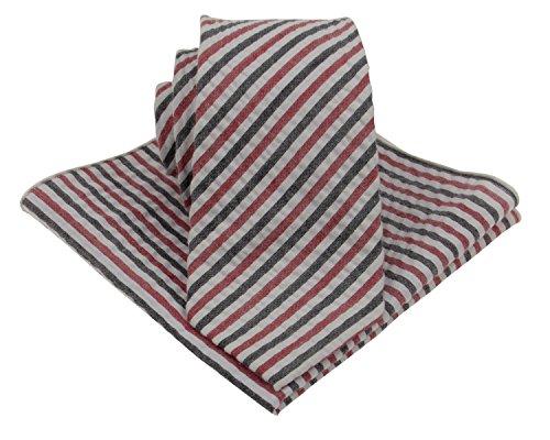 Gollate Seersucker Herren Krawatten-Set aus Baumwolle mit passender Tasche, 7,6 cm breit - - Mittel
