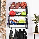 Organizador de equipo de almacenamiento ajustable de 3 niveles para colgar en la pared, organizador de equipo con gancho para baloncesto, fútbol, voleibol, ejercicio, pelota medicinal, color negro