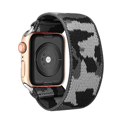 Cinturino elastico per Apple Watch 5 6 4 Cinturino scrunchie 38mm 40mm 42mm 44mm Cinturino da donna casual Bracciale per serie Iwatch 6 5 4,Camouflage gray42MM or 44MM SM