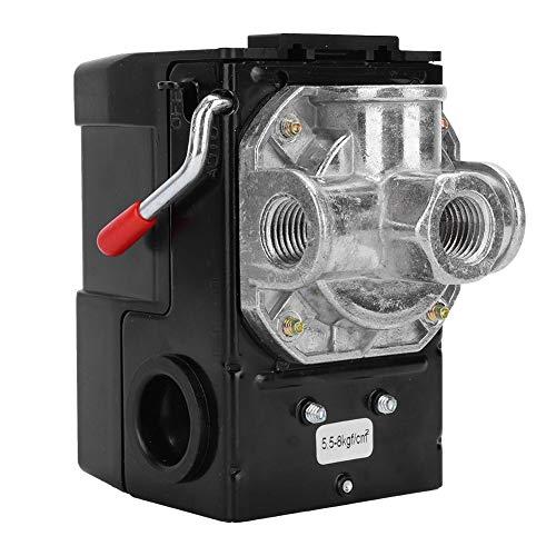 Ccylez 220V G1/4 'interruptor de presión, 75 ~ 120 psi interruptor de presión de 4 agujeros Válvula de control de piezas de repuesto para compresores de aire