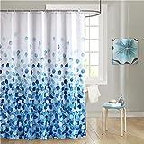 Duschvorhang Blau 180x200 cm Polyester Stoff Schimmelresistent Wasserdicht Maschinenwaschbar Lang Badezimmer Badewanne Vorhänge mit 12 Duschvorhangringe Plastik Haken, Blütenblätter Blumen Muster