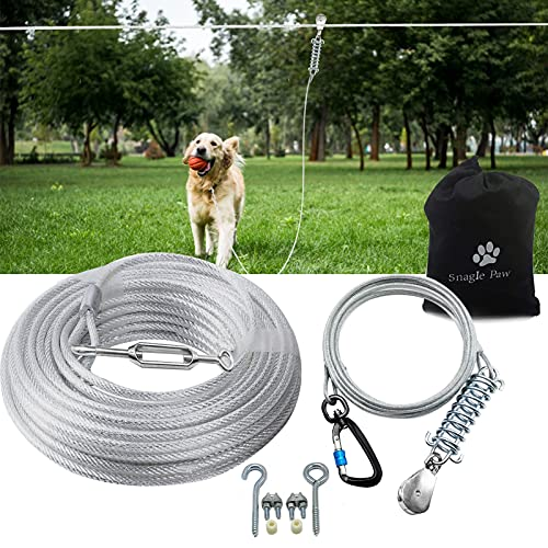 Snagle Paw Dog Tie Out Runner for Yard,Trolley System for Large Dogs, Dog Zipline Aerial Tie Out Cable with 10ft Pulley Runner Line for Dogs Up to 125lbs for Yard or Camping,100ft