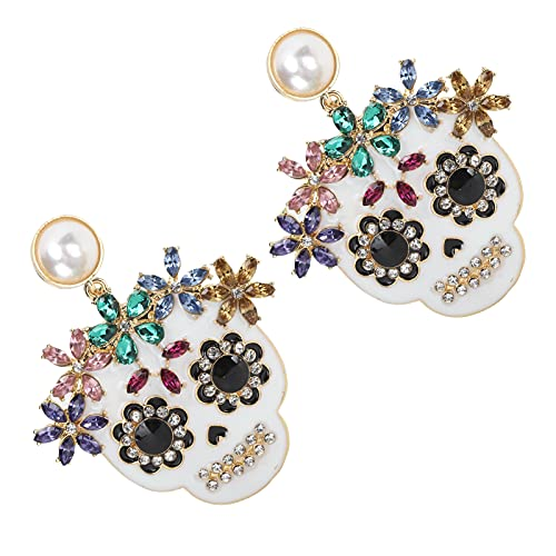 1 par de Pendientes con Forma de Calavera, Pendientes de Diamantes de imitación, Orejeras de aleación para Mujer, para decoración de Fiesta de Vestir Diaria para Mujeres y niñas(Blanco)