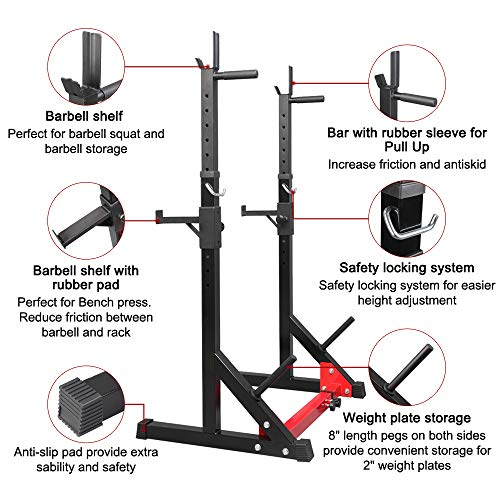 PEXMOR Multi-Function Barbell Rack Squat Stand with Barbell Plate Rack, Adjustable Dip Stand Weight Lifting Bench Press Rack Home Gym Fitness, Max Load 500lb