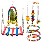 STARROAD-TIM Bird Toys Bird Parrot Swing Toy Pet Bird Cage Hammock Swing Toy Hanging Bell Beaks Toy for Small Budgie 6 pcs budgie Apr, 2021