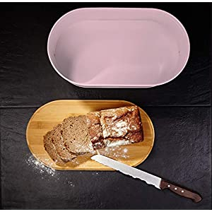 Lumaland Cuisine Bread Bin with Bamboo Lid - Lilac Pink