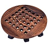 GeBot 16' Inch Rolling Wooden Planter Caddy Potted Plant Stand with Wheels Round Flower Pot Rack Indoor Outdoor Planter Trolley with 360° Rotating Casters Rolling Tray Coaster Garden Pot Dolly