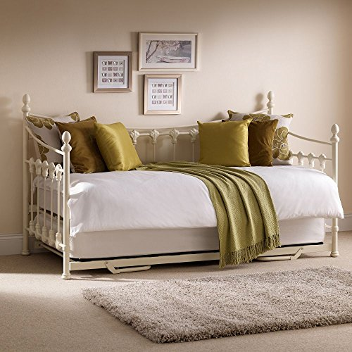 Guest Bed and Trundle, Happy Beds Versailles Stone White Metal Steel Daybed French Day Bed Frame - 3ft Single (90 x 190 cm) with 2 x Pocket Sprung Mattresses Included