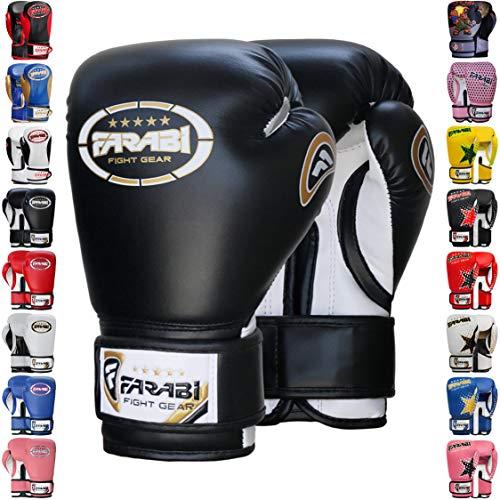 Farabi Boxhandschuhe für Boxen MMA Muay Thai Kickboxen Training Workout Boxsack (Schwarz, 170 g)