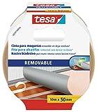 tesa 55731-00016-00 Cinta de doble cara removible con dorso de tejido, 10 m x 50 mm, color blanco, Standard