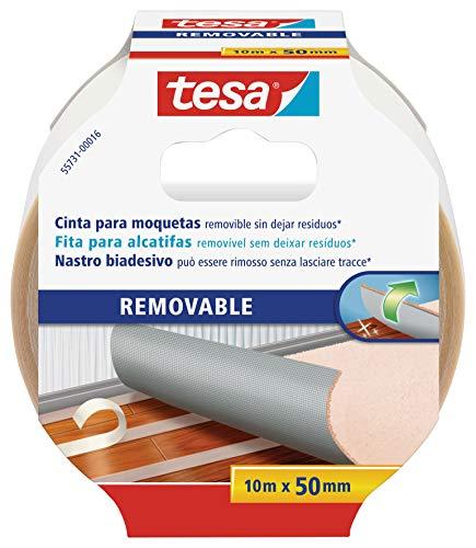 tesa 55731-00016-00 Cinta de Doble Cara removible con Dorso de Tejido, 10 m x 50 mm, Color Blanco, Transparente