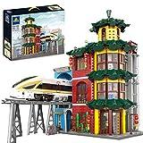 CT-Tribe Bausteine Architektur Modell, Bahnhof mit Zug und Gleis Modular Architektur Modell mit 1499 Teile und Minifiguren, Kompatibel mit Lego