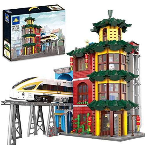 CT-Tribe Modelo de bloques de construcción de construcción de construcción con tren y vía de arquitectura modular modelo con 1499 piezas y minifiguras, compatible con Lego