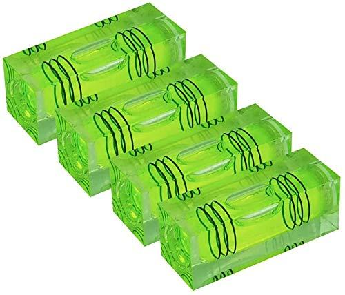 UMEI Mini nivel de burbuja de alta precisión, bola de tres líneas, nivel del hogar (40 x 15 x 15 mm, 4 unidades) (verde)