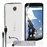 Yousave Accessories Hard Cover Case with Mini Stylus Pen and Micro USB Cable for Motorola Nexus 6 - Crystal Clear