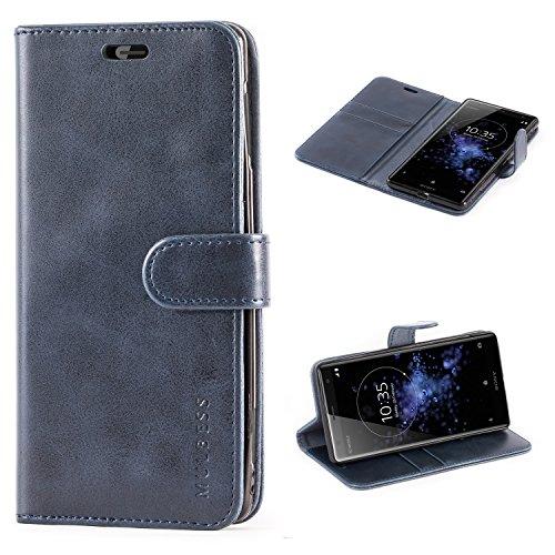 Mulbess Handyhülle für Sony Xperia XZ2 Hülle Leder, Sony Xperia XZ2 Handytasche, Vintage Flip Schutzhülle für Sony Xperia XZ2 Hülle, Navy Blau