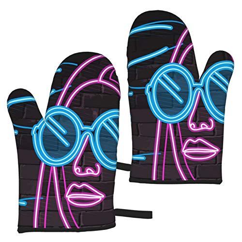 ZGPOJNDKI Una hermosa mujer en gafas guantes de horno impermeables antideslizantes resistentes al calor, juegos de 2 para cocina, hornear, parrilla, barbacoa, decoración del hogar