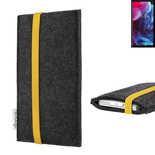 flat.design vegane Handy Tasche Coimbra kompatibel mit Archos Oxygen 63XL - Schutz Hülle Tasche Filz vegan fair gelb