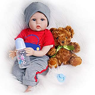 Yesteria Reborn Baby Doll, 22 Inch Realistic Silicone Baby Doll, Weighed Reborn Boy Doll in Red Car Outfit, with Accessori...