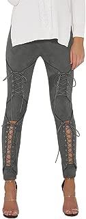 Women's Spring Faux Suede Leggings High Waist Elastic Stretchy Slim Pencil Pants Bandage Plus