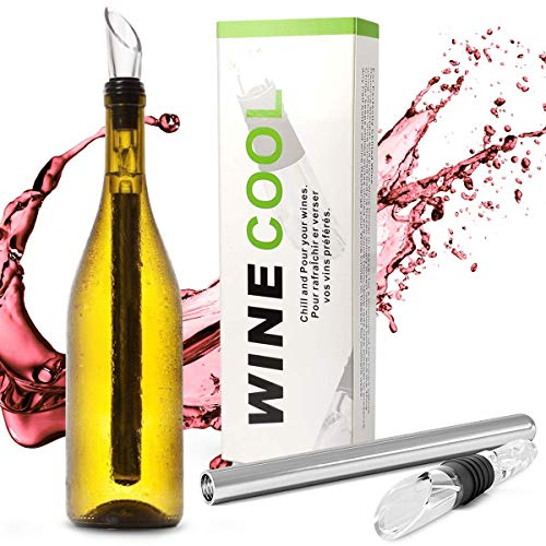 Wine Chiller Stick, IEOVO 3-in-1 Non-Leaking Wine Aerator Pourer & Stainless Steel Bottle Cooler Stick, Design Bar Accessory for Home Men Women
