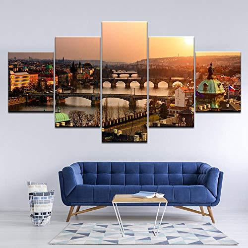 ZLARGEW Pintura en Lienzo Castillo de Praga Sunset 5 Piezas Arte de la Pared Pintura Modular Poster Print para...