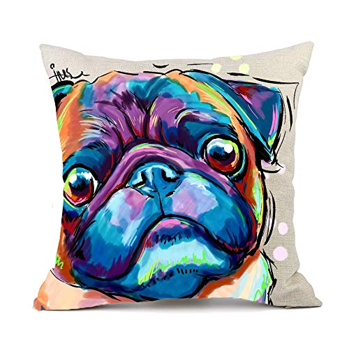Vioaplem Cute Pet Pug Dogs Pattern Cushion Cover Cotton Linen Sofa Decorative Throw Pillow Case for Home Decor 18x18 Inch