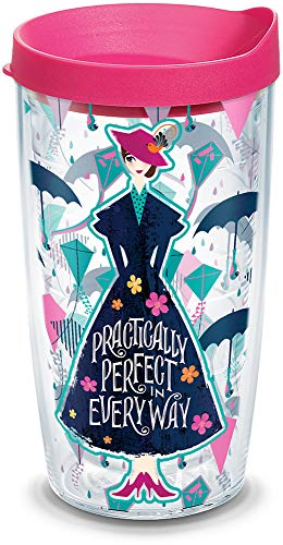 Tervis Disney - Mary Poppins Returns Insulated Tumbler with Wrap and Fuschia Lid, 16 oz, Clear