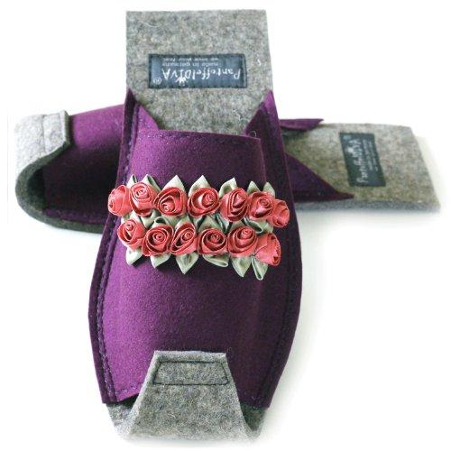 PantoffelDIVA Rosenreslie Aubergine/Lila - Damenpantoffel in Unisex Größe mit kleinen Satinröschen Unisex Größe 38-42
