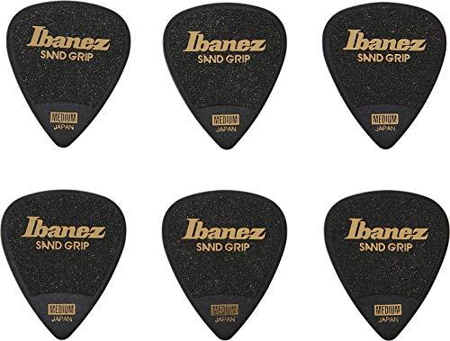IBANEZ Grip Wizard Series Sand Grip Flat Pick – zwart 6 stuks (PPA14MSG-BK)