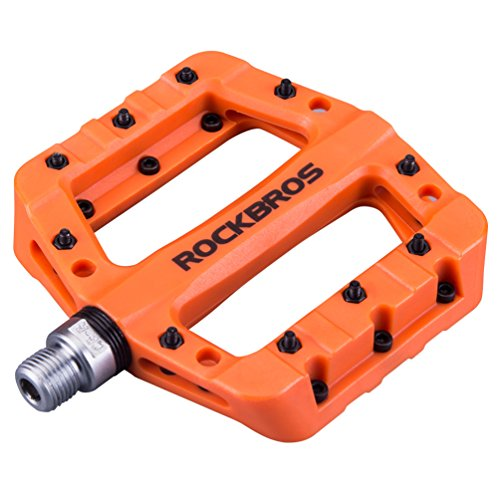 "ROCKBROS Lightweight Mountain Bike Pedals Nylon Fiber Bicycle Platform Pedals for BMX MTB 9/16"" Orange"