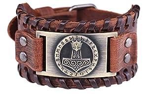 Vintage Amulett gotischen nordischen Mythos Thors Hammer Wikinger Runen keltischen Irish Knot braun Leder Gürtelschnalle Armband (braunes Leder, antike Bronze)