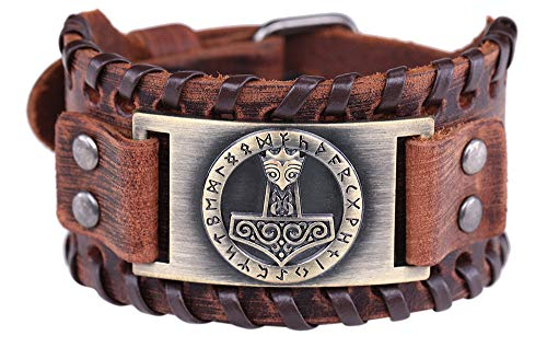 Pulsera con hebilla de cinturón de cuero marrón con diseño de nudo irlandés celta y martillo de Thor