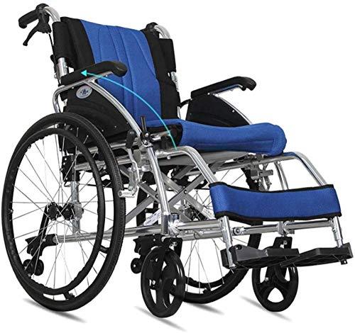 mjj Silla de ruedas autopropulsada de aleación de aluminio, ligera, plegable, más antigua, con pasamanos desmontable, para discapacitados