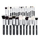 Professional Makeup Brushes Set, 15 Piece Makeup Brushes Kit with Wood Handle for Foundation Powder Concealer, Luxury Natural Bristles Goat Hairs and Soft Synthetic Hairs, Black and Silver